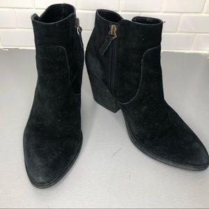 - Treasure Bond black suede block heels boot…
